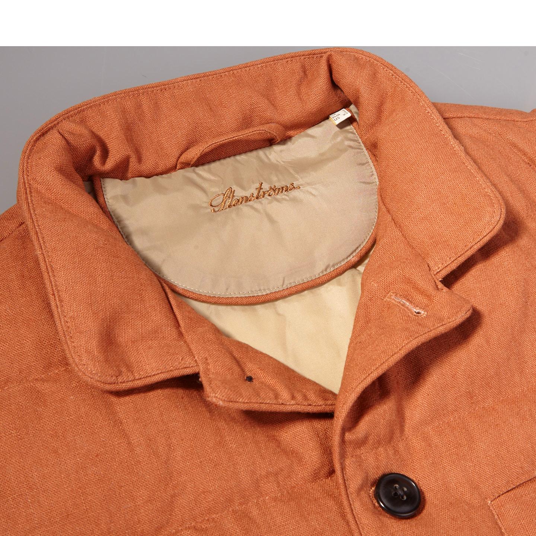 Stenströms Orange Quilted Cotton Linen Gilet Collar