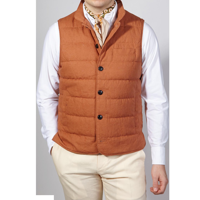 Stenströms Orange Quilted Cotton Linen Gilet Front