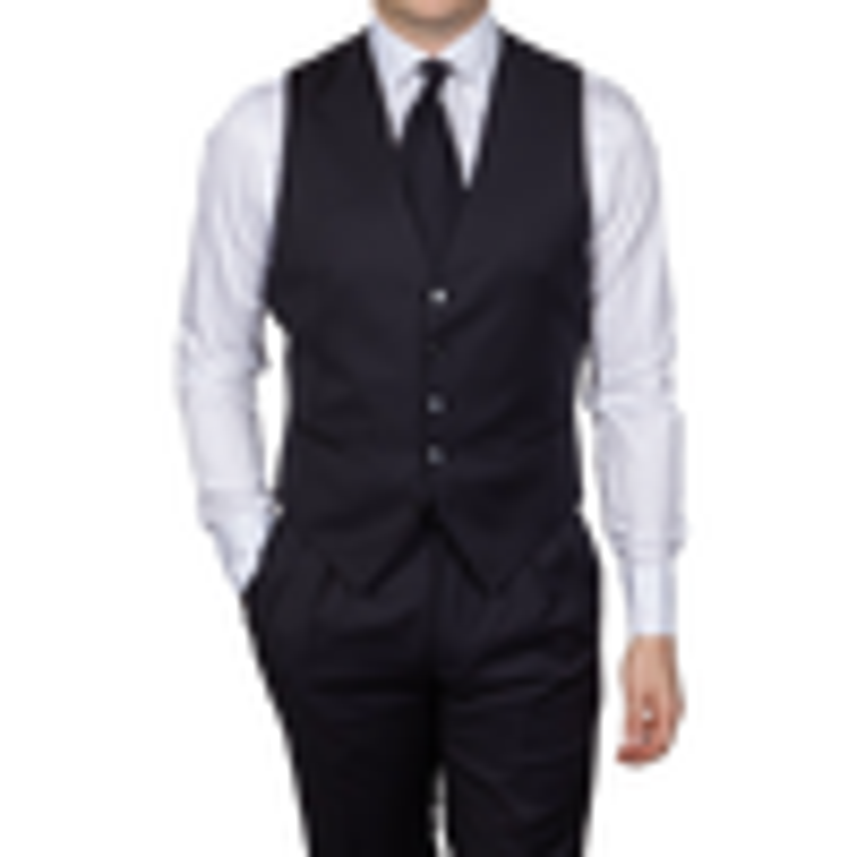 Tagliatore Navy Blue Suit Waistcoat Front