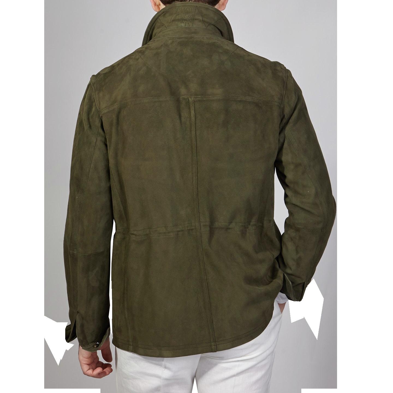 Werner Christ Green Suede Leather Jacket Back