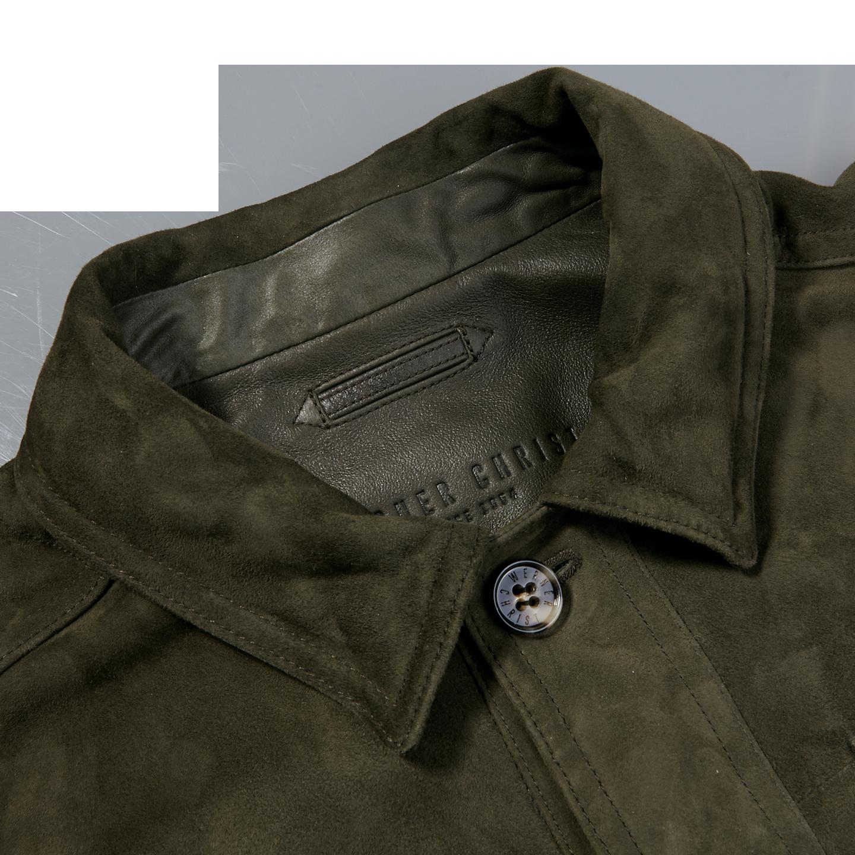 Werner Christ Green Suede Leather Jacket Collar