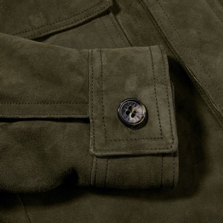 Werner Christ Green Suede Leather Jacket Cuff