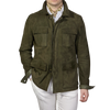 Werner Christ Green Suede Leather Jacket Front
