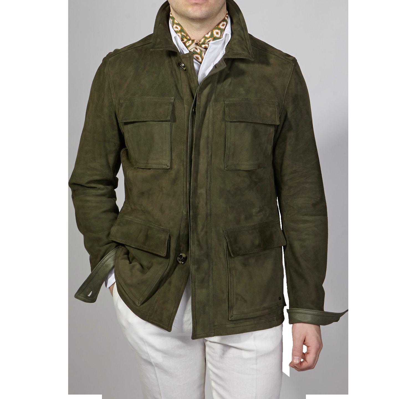 Werner Christ Green Suede Leather Jacket Front