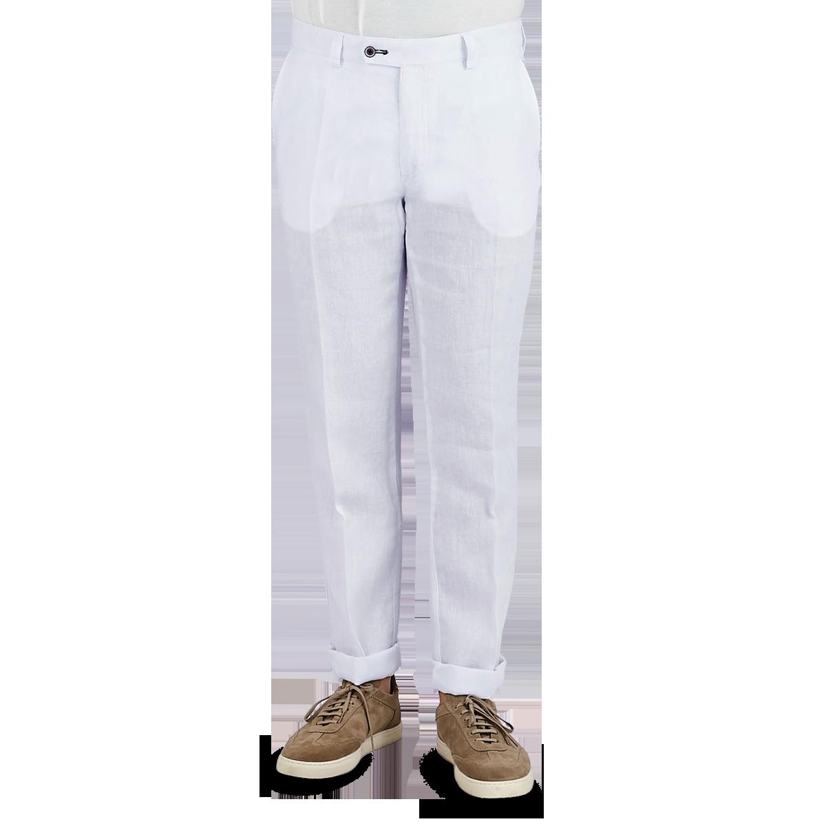 San Siro White Linen Palma Trousers Front