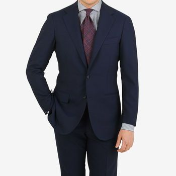 Ring Jacket Navy High Twist Wool Suit Jacket Front