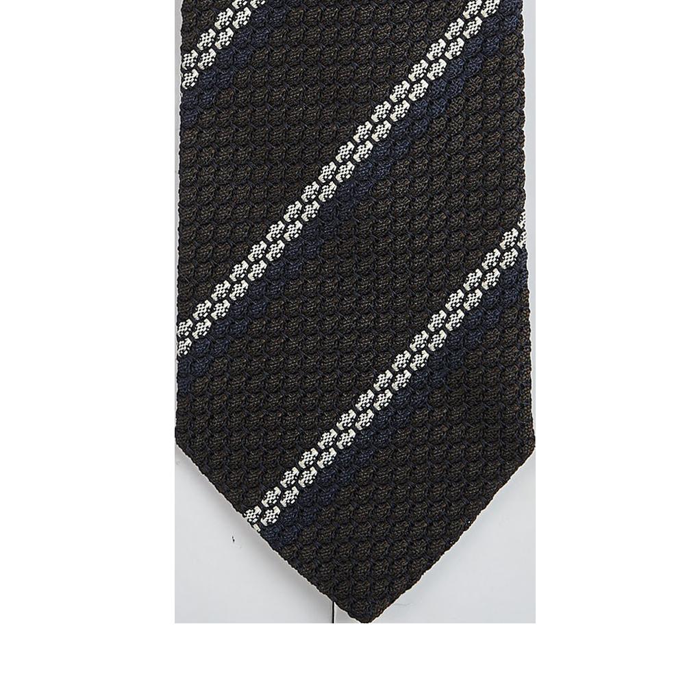 Amanda Christens Brown Striped Grenadine Grossa Lined Silk Tie Tip