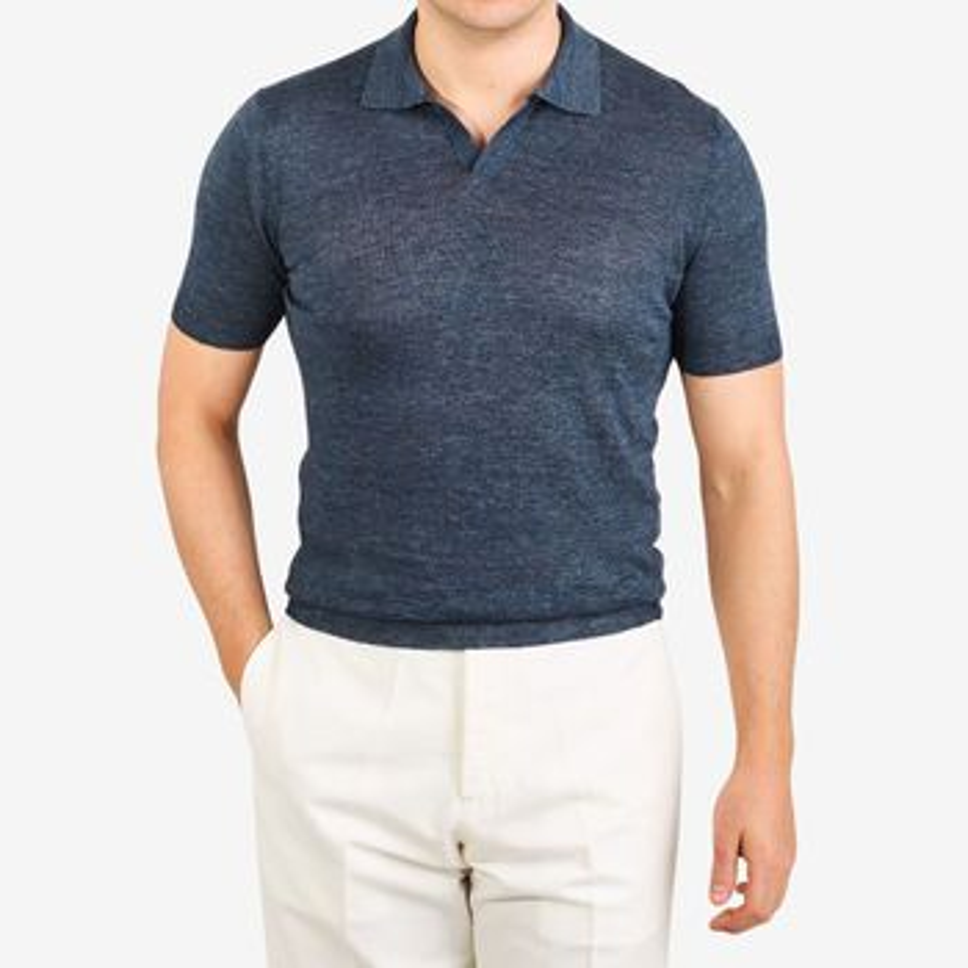 Gran Sasso Blue Linen Capri Collar Polo Shirt Front