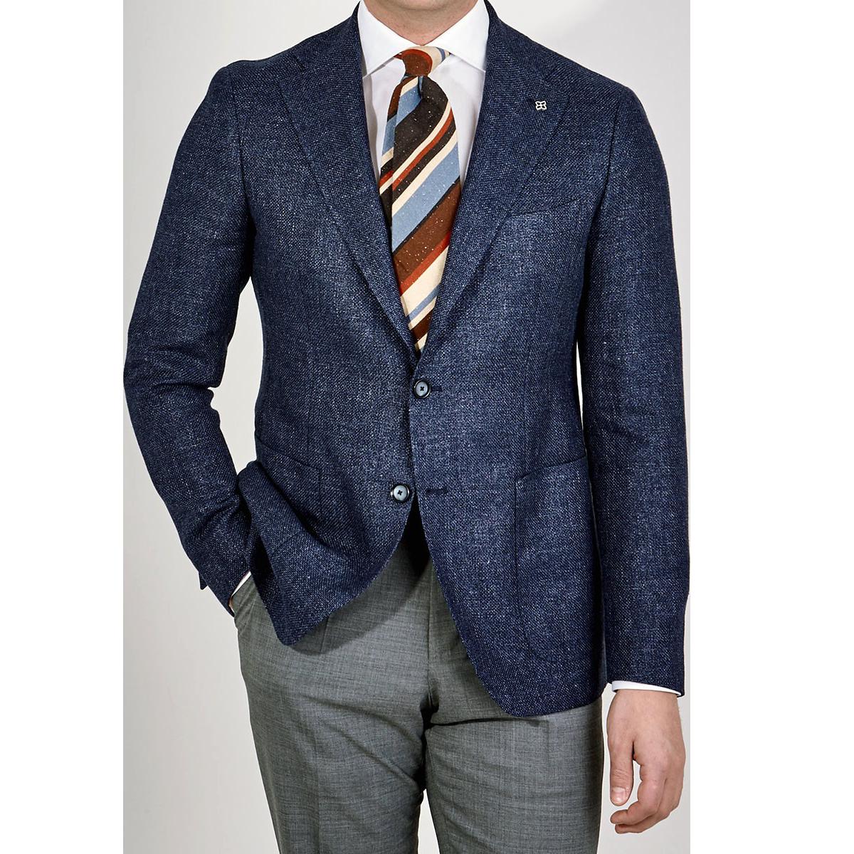 Tagliatore Blue Wool Linen Basketweave Blazer Front