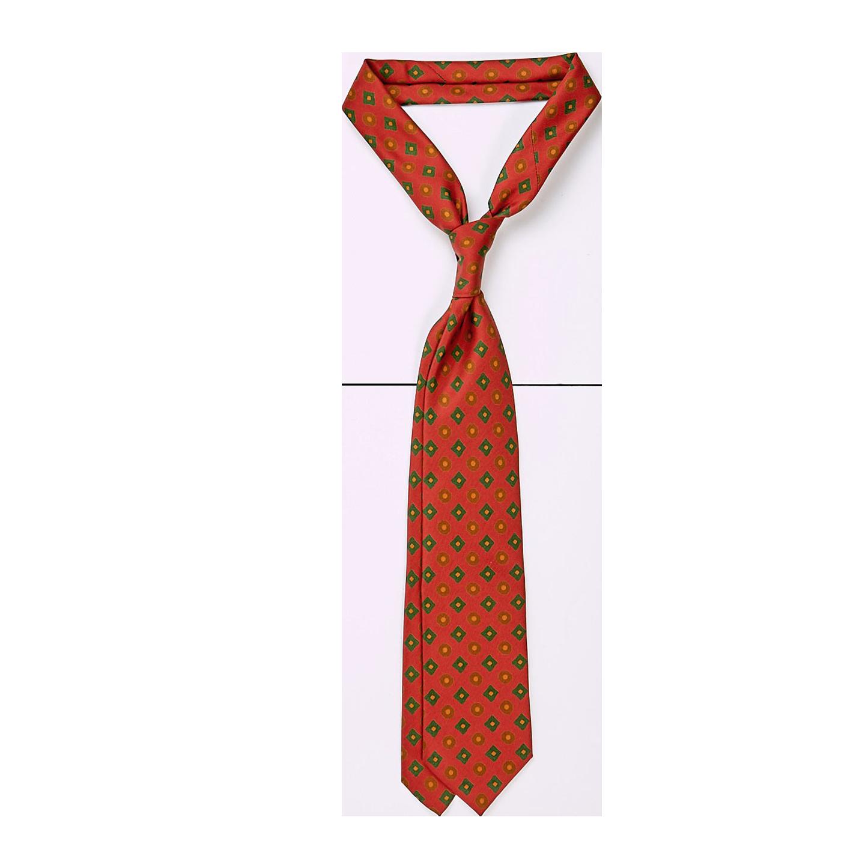 Drake's Dark Orange Rhombus Print 36oz Madder Silk Tie Feature