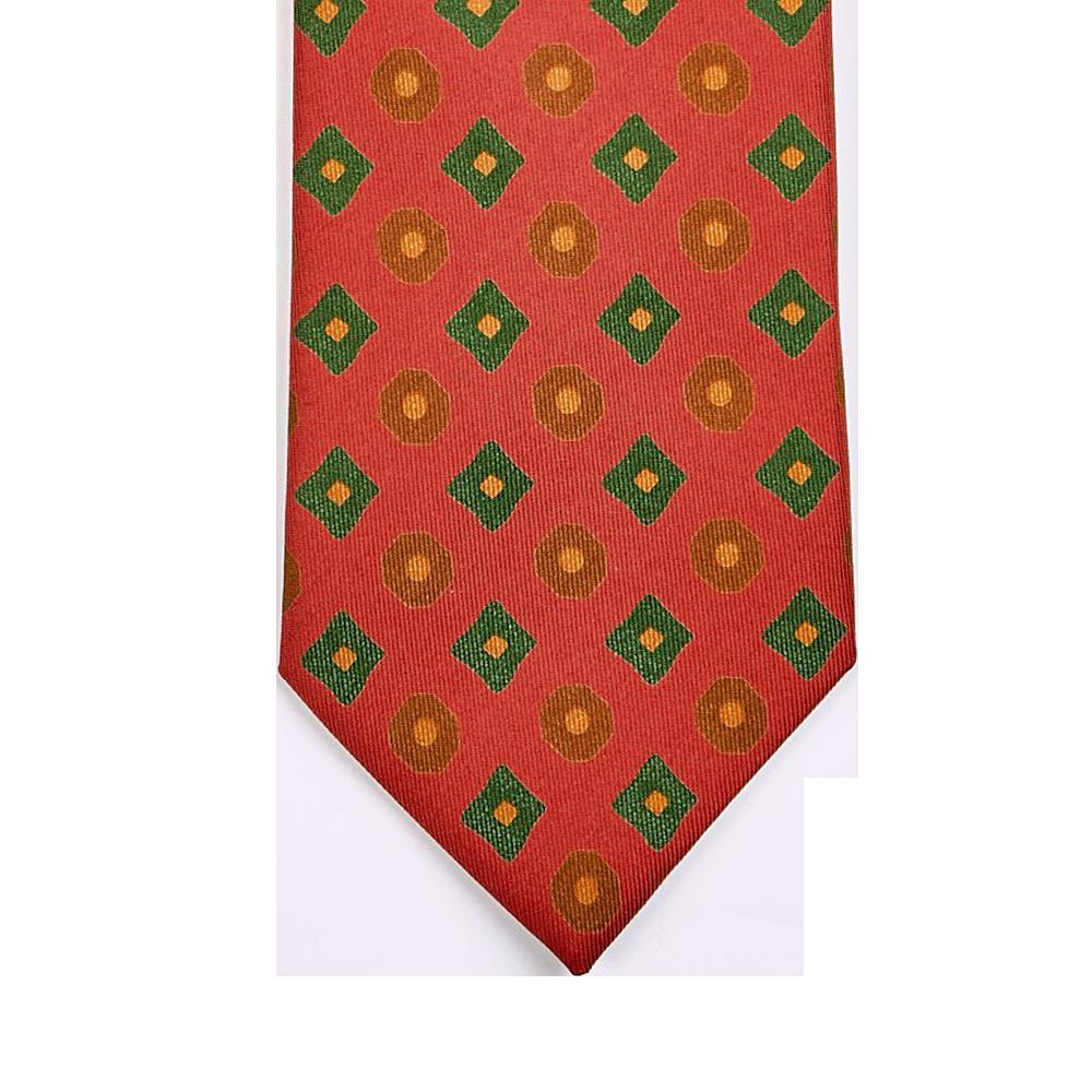 Drake's Dark Orange Rhombus Print 36oz Madder Silk Tie Tip