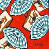 Drake's Red Navy Parasol Print Cotton Bandana Fabric