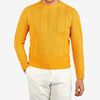 Drake's Yellow Summer Seed Stitch Linen Merino Jumper Front
