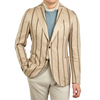 Lardini Beige Striped Linen Tesutto Exclusivo Blazer Front
