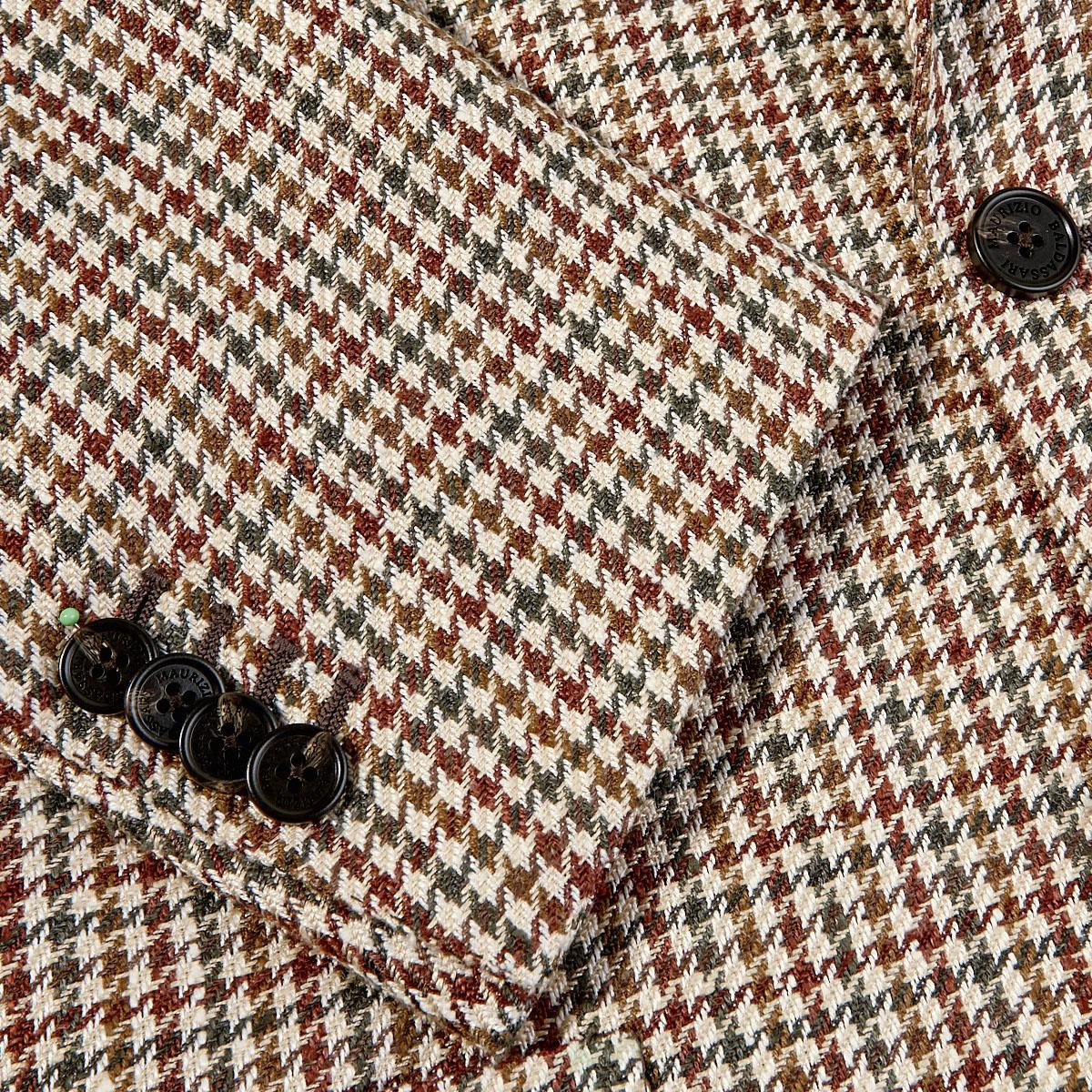 Maurizio Baldassari Beige Houndstooth Silk Linen Cotton Blazer Cuff