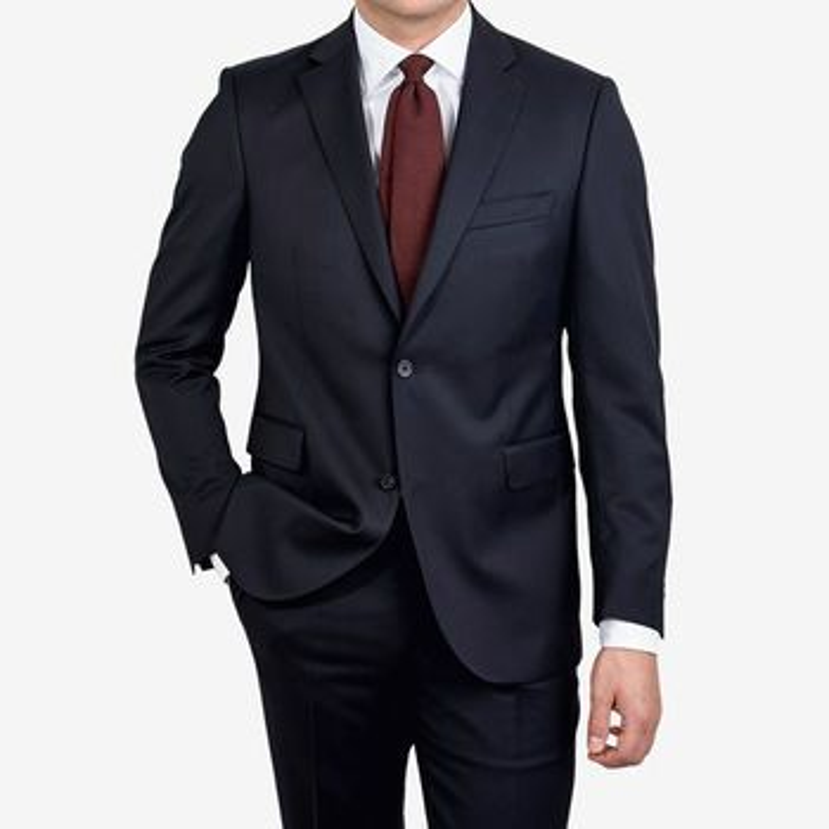 Eduard Dressler Navy Super 110s Wool Edson Suit Blazer Front
