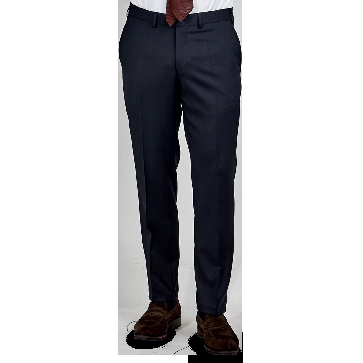 Eduard Dressler Navy Super 110s Wool Jeff Suit Trousers Front