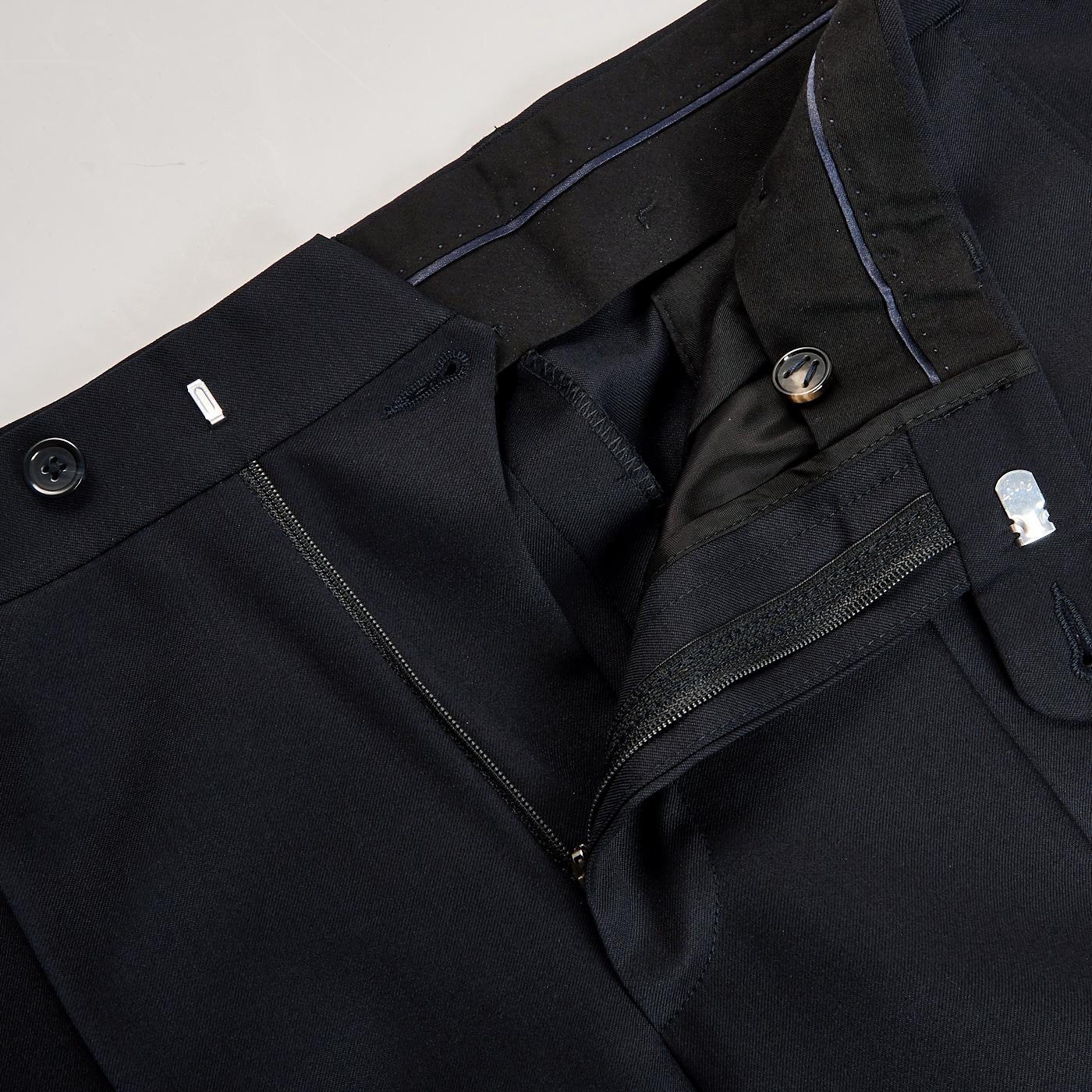 Eduard Dressler Navy Super 110s Wool Jeff Suit Trousers Zipper