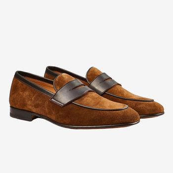 Stemar Tan Suede and Leather Penny Loafer Front