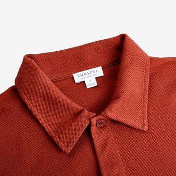 Sunspel Orange Cotton Mesh Jersey Polo Shirt Collar