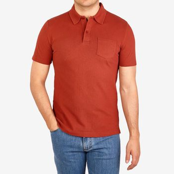 Sunspel Orange Cotton Mesh Jersey Polo Shirt Front