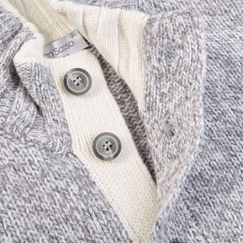 Gran Sasso Light Grey Melange Wool Buttoned Cardigan Open