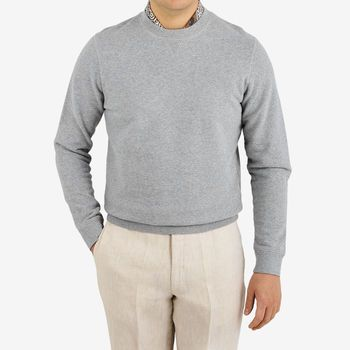 Sunspel Grey Cotton Loopback Sweatshirt Front