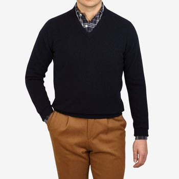 William Lockie Dark Navy V-Neck Lambswool Sweater Front