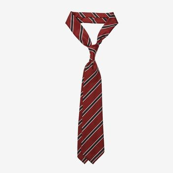 Dreaming of Monday Burgundy Regimental Striped 7-Fold Wool Tie Feature