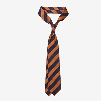 Dreaming of Monday Dark Blue Block Striped 7-Fold Wool Tie Feature