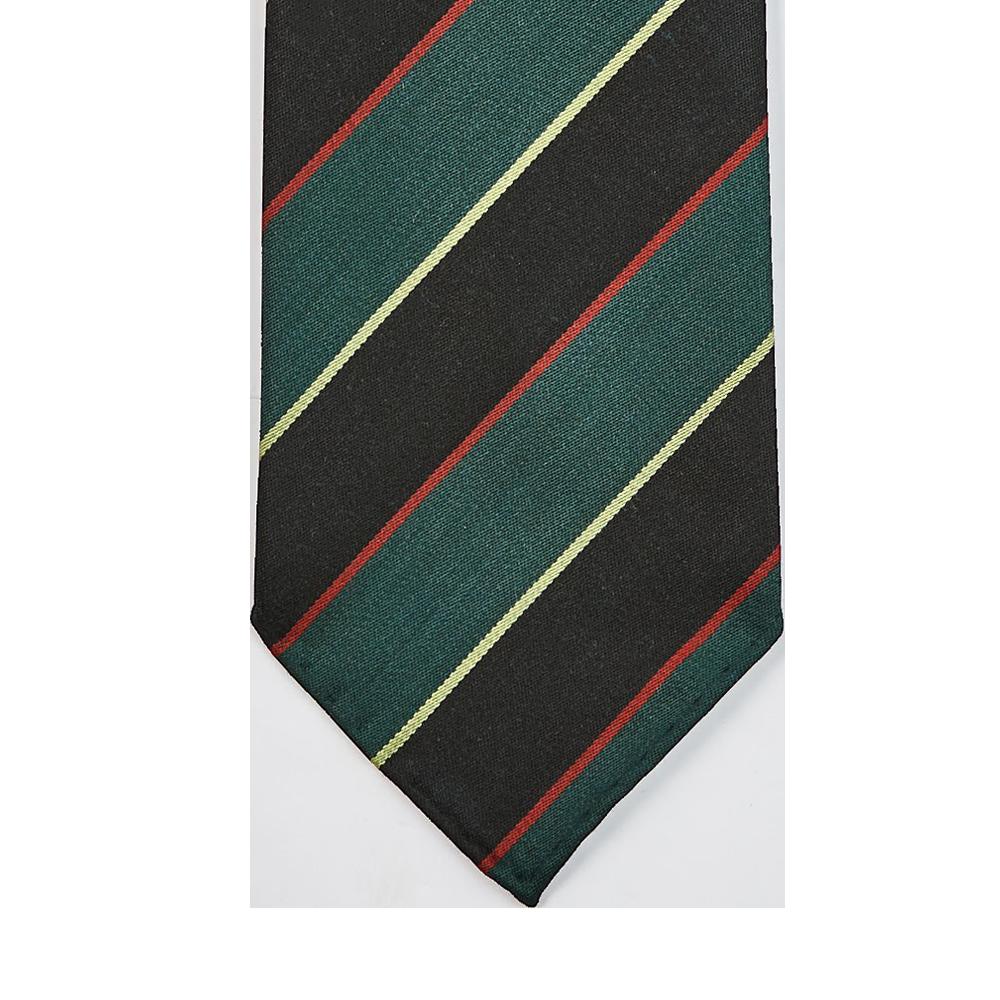 Dreaming of Monday Green Regimental Multi-Striped 7-Fold Wool Tie Striped Tip