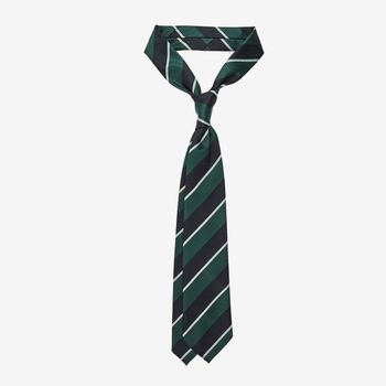 Dreaming of Monday Green Regimental Striped 7-Fold Wool Tie Feature