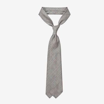 Dreaming of Monday Light Grey Checked 7-Fold Vintage Wool Tie Feature
