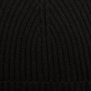 Johnstons of Elgin Black Ribbed Cashmere Hat Fabric