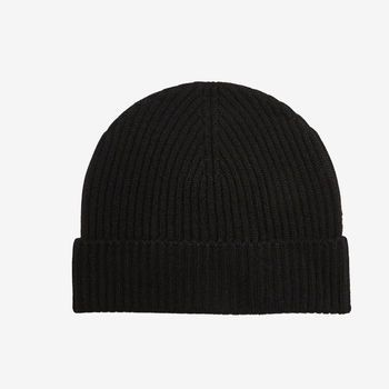Johnstons of Elgin Black Ribbed Cashmere Hat Feature