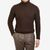 Johnstons of Elgin Dark Brown Cable Knitted Cashmere Roll Neck Front