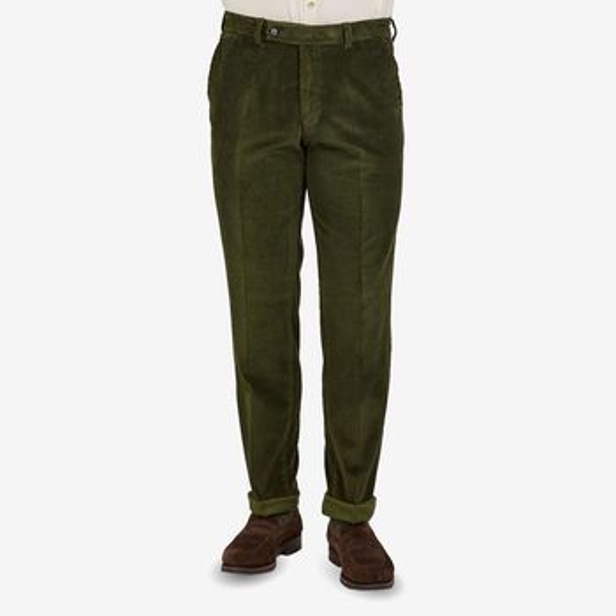 San Siro Green Cotton Corduroy Palma Trousers Front