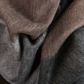 Amanda Christensen Grey Brown Block Knit Wool Scarf Fabric