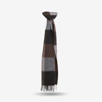 Amanda Christensen Grey Brown Block Knit Wool Scarf Feature
