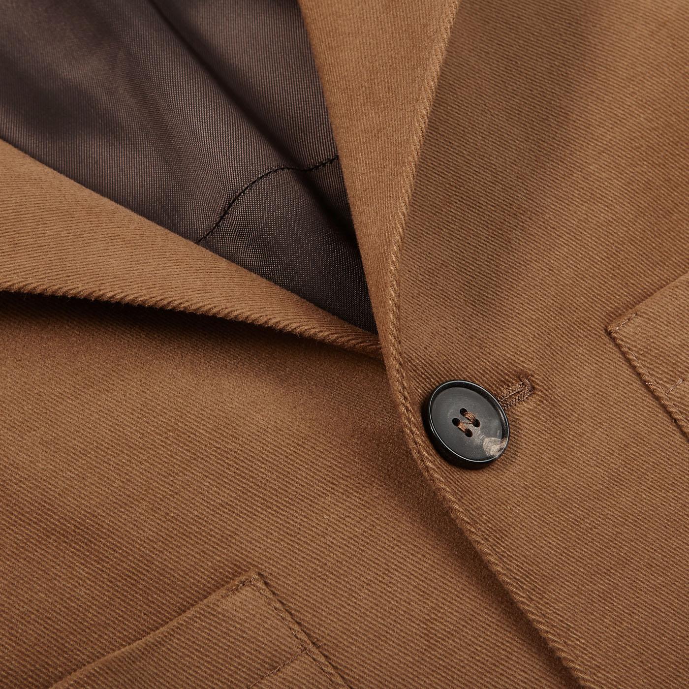 Baltzar Sartorial Warm Beige Cotton Moleskin Safari Jacket Closed