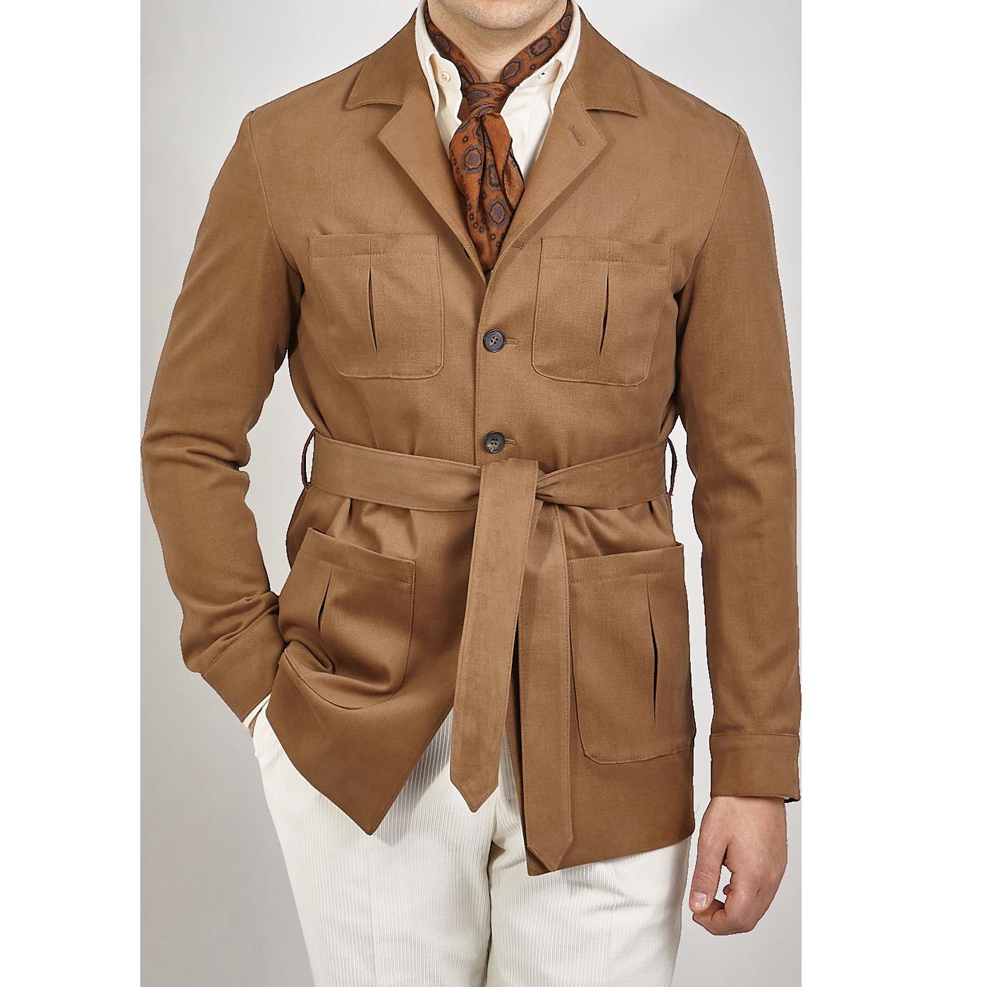 Baltzar Sartorial Warm Beige Cotton Moleskin Safari Jacket Front
