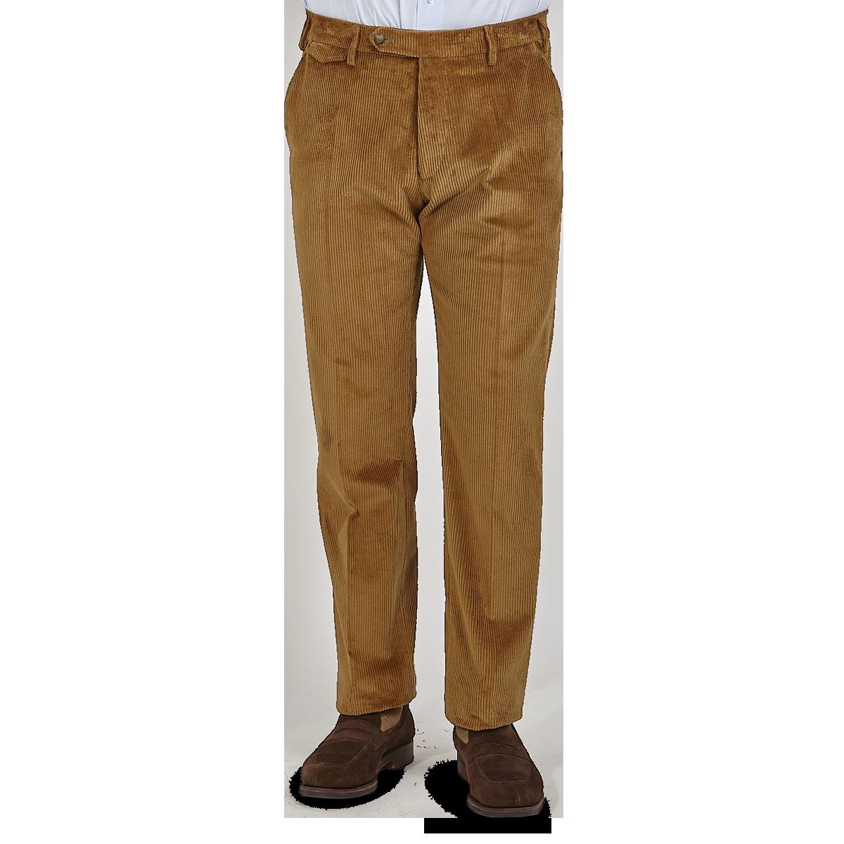 Berwich Light Brown Cotton Corduroy Flat Front Trousers Front