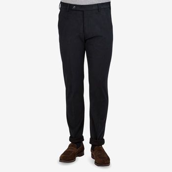 Berwich Navy Cotton Twill Flat Front Trousers Front