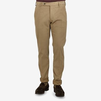 Berwich Nougat Brown Cotton Twill Flat Front Trousers Front
