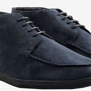 Canali Blue Suede Furlined Soft Chukka Boots Detail