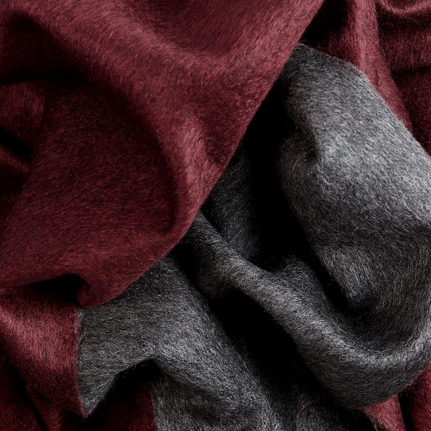 Canali Bordeaux Grey Silk Cashmere Scarf Fabric