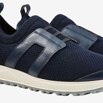 Canali Navy Leather Mesh No Lace Sneakers Detail