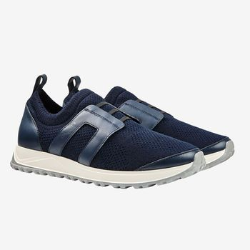 Canali Navy Leather Mesh No Lace Sneakers Front