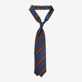 Drake's Blue Regimental Striped Silk Tie Feature