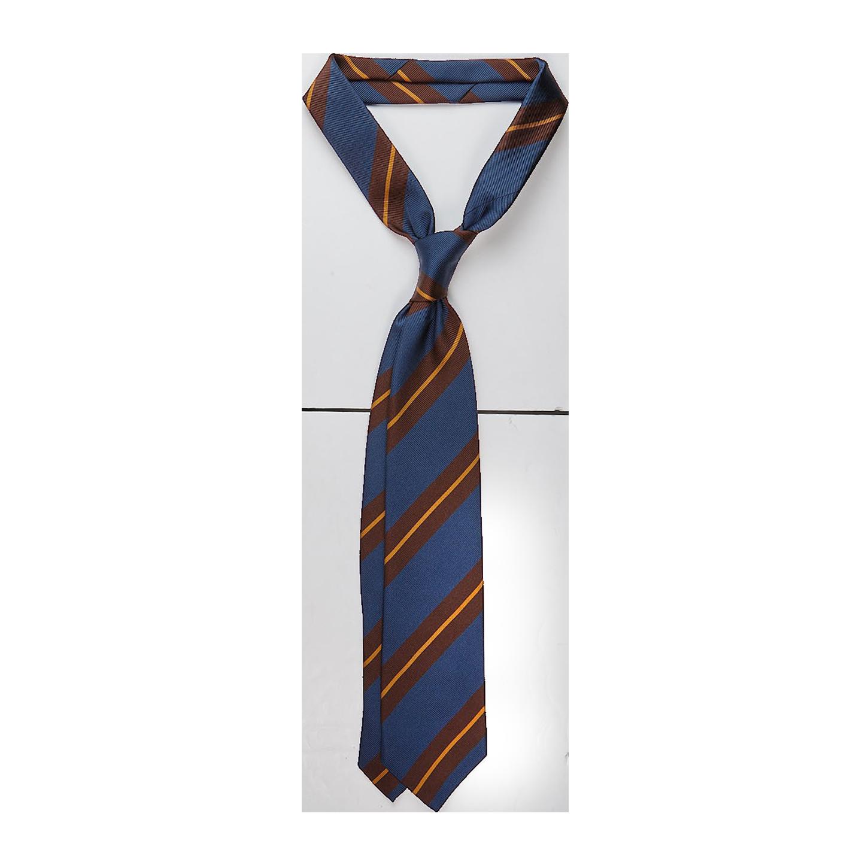 Drake's Blue Regimental Striped Silk Tie Feature
